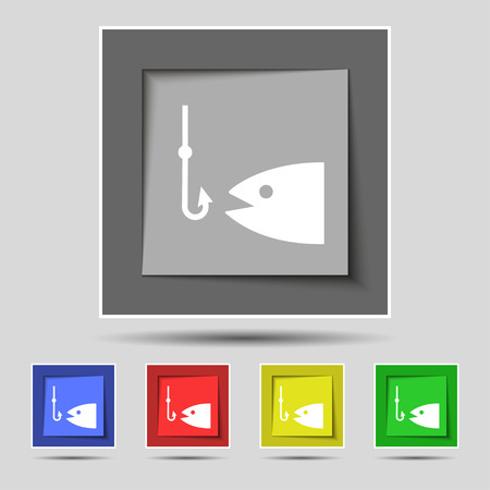 sinker: Fishing icon sign on original five colored buttons. Vector illustration