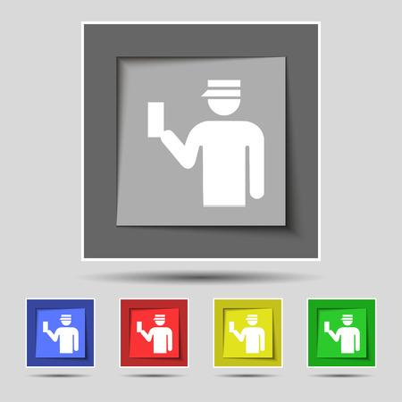 kontrolleur: Inspector Symbol Zeichen auf urspr�nglichen f�nf farbigen Tasten. Vektor-Illustration