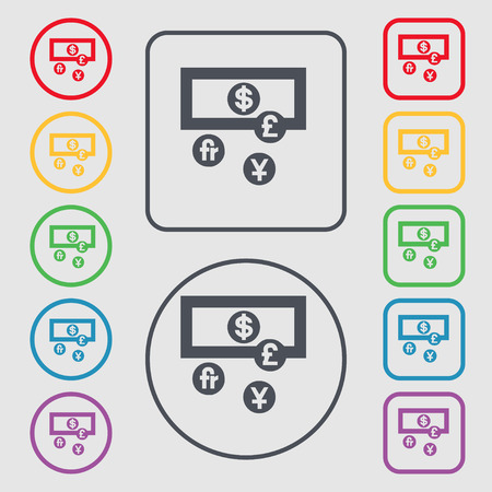 australian money: currencies of the world icon sign. symbol on the Round and square buttons with frame. Vector illustration