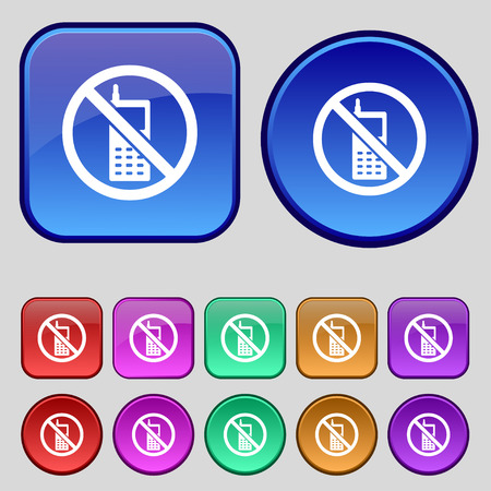 cell phones not allowed: mobile phone is prohibited icon sign. A set of twelve vintage buttons for your design. Vector illustration Illustration