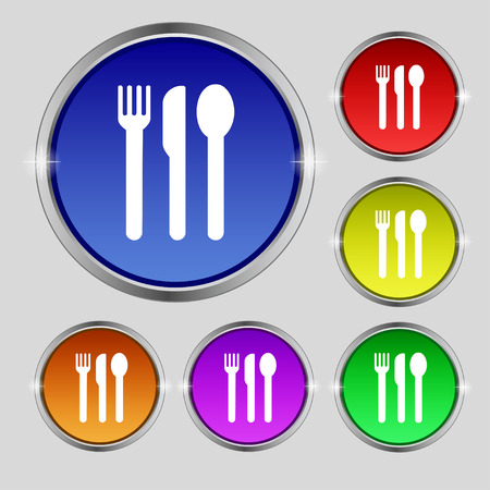 fork knife spoon: fork, knife, spoon icon sign. Round symbol on bright colourful buttons. Vector illustration Illustration