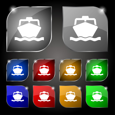 inflate boat: the boat icon sign. Set of ten colorful buttons with glare. Vector illustration