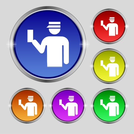 inspector: Inspector icon sign. Round symbol on bright colourful buttons. Vector illustration