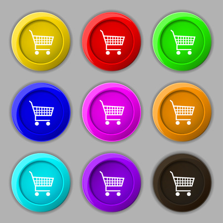 time account: shopping cart icon sign. symbol on nine round colourful buttons. Vector illustration Illustration