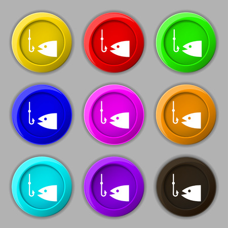 floater: Fishing icon sign. symbol on nine round colourful buttons. Vector illustration Illustration