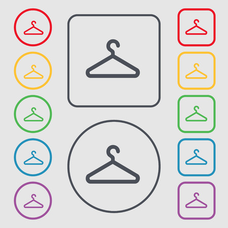 spring coat: clothes hanger icon sign. symbol on the Round and square buttons with frame. Vector illustration