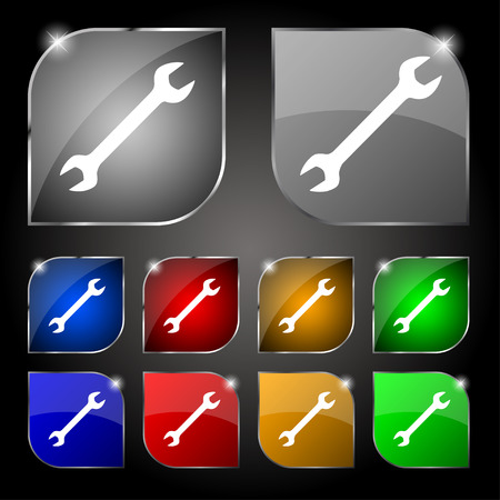 fitter: wrench icon sign. Set of ten colorful buttons with glare. Vector illustration Illustration