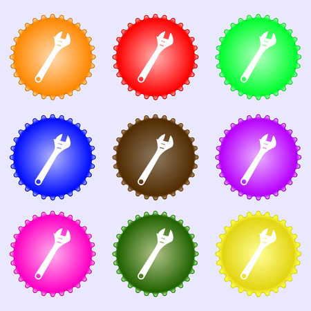 fitter: wrench icon sign. A set of nine different colored labels. Vector illustration