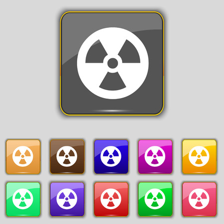cold fusion: radiation icon sign. Set with eleven colored buttons for your site. Vector illustration
