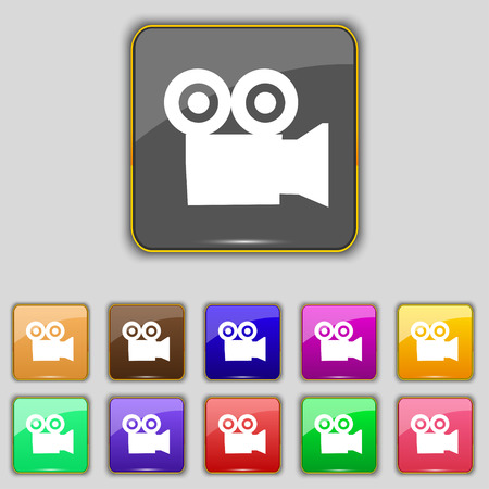 journalistic: video camera icon sign. Set with eleven colored buttons for your site. Vector illustration