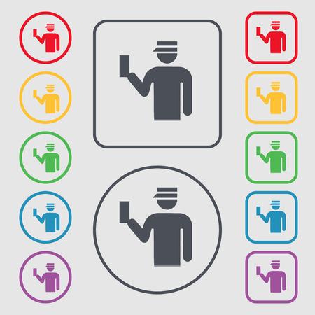 kontrolleur: Inspector-Symbol-Zeichen. Symbol auf der Runde und eckige Buttons mit Rahmen. Vektor-Illustration