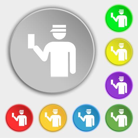 kontrolleur: Inspector-Symbol-Zeichen. Symbol auf f�nf flachen Tasten. Vektor-Illustration