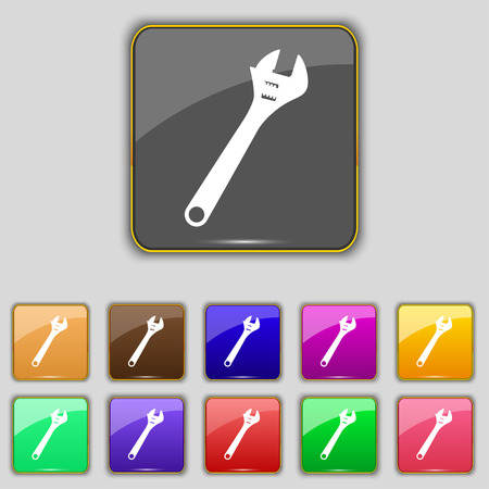 tweak: wrench icon sign. Set with eleven colored buttons for your site. Vector illustration