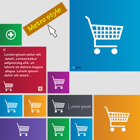 time account: shopping cart icon sign. buttons. Modern interface website buttons with cursor pointer. Vector illustration