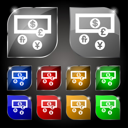 australian money: currencies of the world icon sign. Set of ten colorful buttons with glare. Vector illustration Illustration