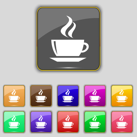 turkish dessert: tea, coffee icon sign. Set with eleven colored buttons for your site. Vector illustration