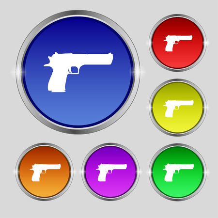 gas mask danger sign: gun icon sign. Round symbol on bright colourful buttons. Vector illustration