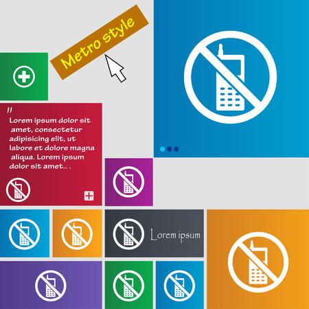 cell phones not allowed: mobile phone is prohibited icon sign. buttons. Modern interface website buttons with cursor pointer. Vector illustration Illustration