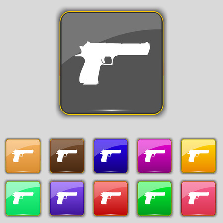 army gas mask: gun icon sign. Set with eleven colored buttons for your site. Vector illustration