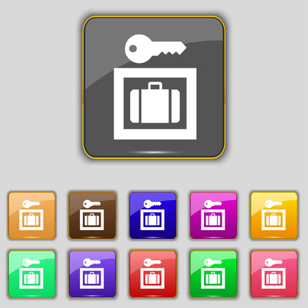 trolley case: Luggage Storage icon sign. Set with eleven colored buttons for your site. Vector illustration Illustration