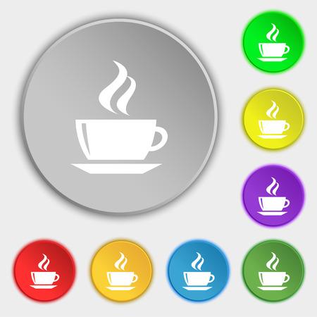 turkish dessert: tea, coffee icon sign. Symbol on five flat buttons. Vector illustration