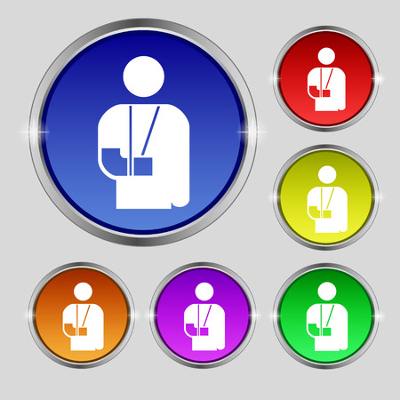blind dog: broken arm, disability icon sign. Round symbol on bright colourful buttons. Vector illustration