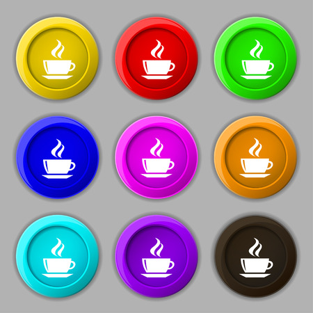 turkish dessert: tea, coffee icon sign. symbol on nine round colourful buttons. Vector illustration