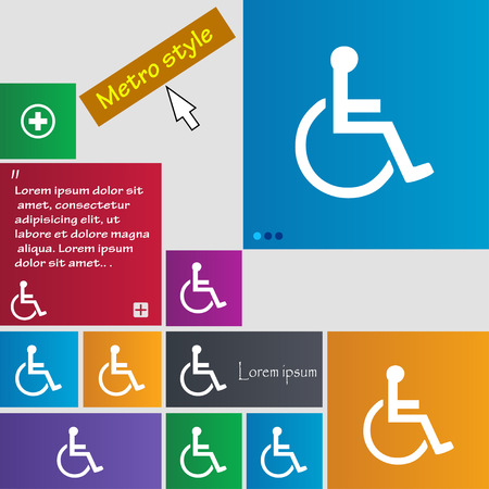 paralyze: disabled icon sign. buttons. Modern interface website buttons with cursor pointer. Vector illustration
