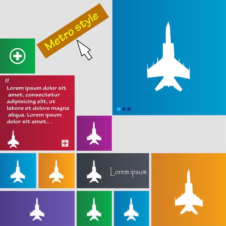 air plane: fighter icon sign. buttons. Modern interface website buttons with cursor pointer. Vector illustration
