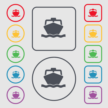 inflate boat: the boat icon sign. symbol on the Round and square buttons with frame. Vector illustration Illustration