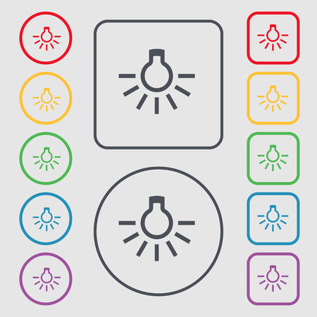 scriibble: light bulb icon sign. symbol on the Round and square buttons with frame. Vector illustration