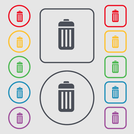 local supply: The trash icon sign. symbol on the Round and square buttons with frame. Vector illustration
