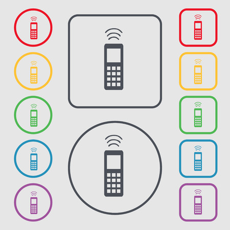 remote control: the remote control icon sign. symbol on the Round and square buttons with frame. Vector illustration