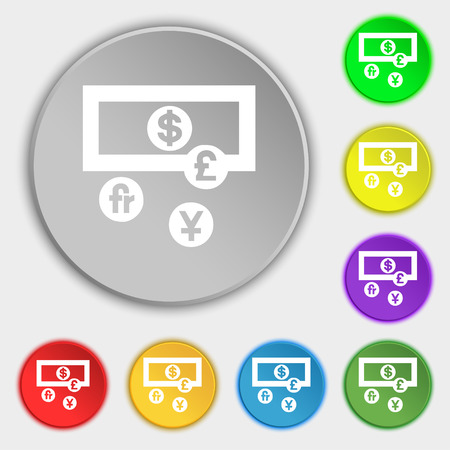australian money: currencies of the world icon sign. Symbol on five flat buttons. Vector illustration Illustration