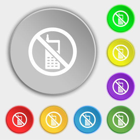 shut off: mobile phone is prohibited icon sign. Symbol on five flat buttons. Vector illustration