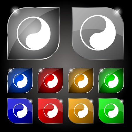 daoism: Yin Yang icon sign. Set of ten colorful buttons with glare. Vector illustration Illustration