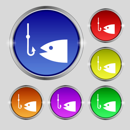 floater: Fishing icon sign. Round symbol on bright colourful buttons. Vector illustration Illustration
