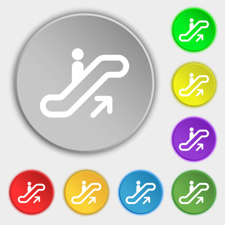 electronic guide: elevator, Escalator, Staircase icon sign. Symbol on five flat buttons. Vector illustration