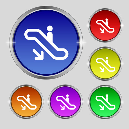 electronic guide: elevator, Escalator, Staircase icon sign. Round symbol on bright colourful buttons. Vector illustration