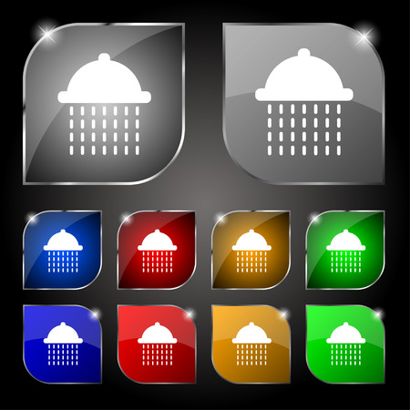 bathe: shower icon sign. Set of ten colorful buttons with glare. Vector illustration