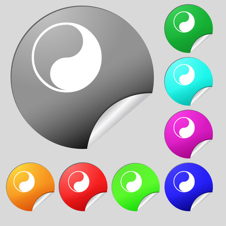 Yin Yang icon sign. Set of eight multi colored round buttons, stickers. Vector illustration