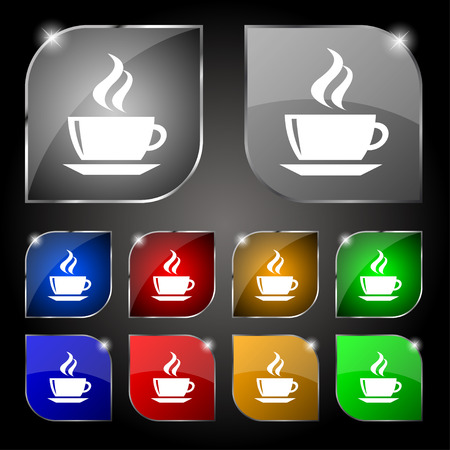 turkish dessert: tea, coffee icon sign. Set of ten colorful buttons with glare. Vector illustration