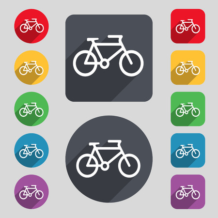 biking glove: bike icon sign. A set of 12 colored buttons and a long shadow. Flat design. Vector illustration