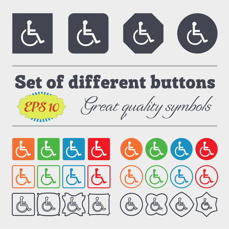 paralyze: disabled icon sign. Big set of colorful, diverse, high-quality buttons. Vector illustration
