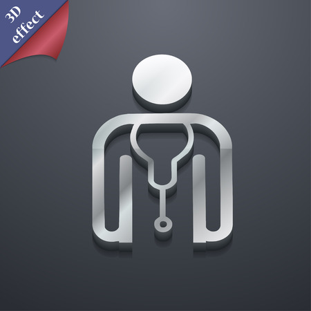 clinical staff: doctor icon symbol. 3D style. Trendy, modern design with space for your text Vector illustration Illustration