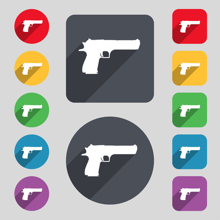 explosive gas: gun icon sign. A set of 12 colored buttons and a long shadow. Flat design. Vector illustration