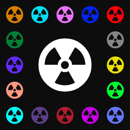 cold fusion: radiation icon sign. Lots of colorful symbols for your design. Vector illustration Illustration