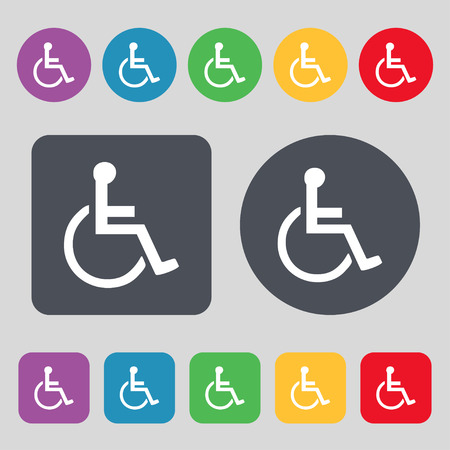 dog wheelchair: disabled icon sign. A set of 12 colored buttons. Flat design. Vector illustration