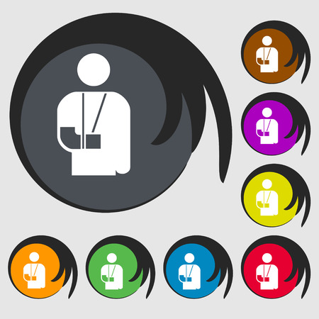broken arm: broken arm, disability icon sign. Symbol on eight colored buttons. Vector illustration