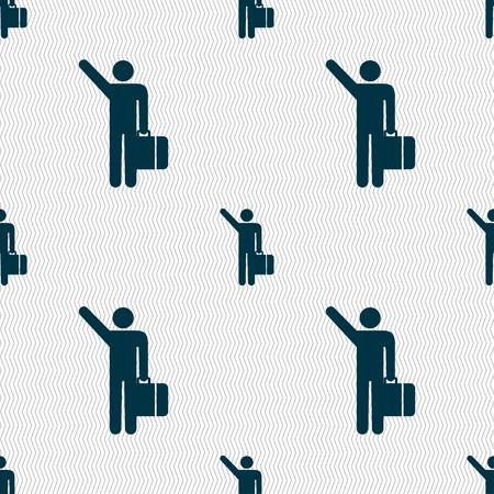 tourist icon: tourist icon sign. Seamless pattern with geometric texture. Vector illustration Illustration